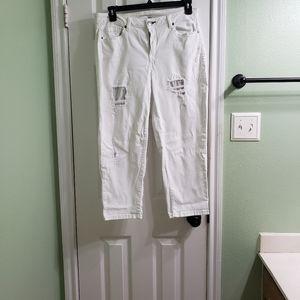 Lane Bryant white capri pants
